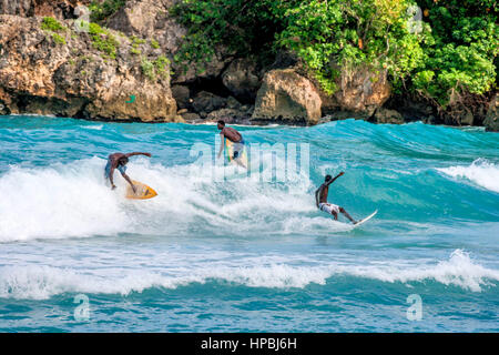 Surfer, Boston bay, watersports, waves, surfing, Jamaica, Jamaika - Stock Image
