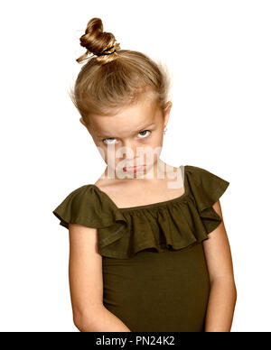 Six year old girl with false unhappy pout - Stock Image