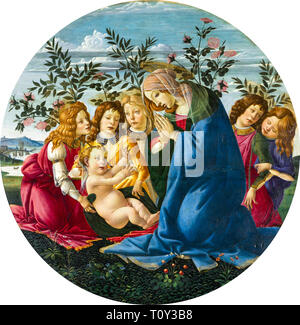 Sandro Botticelli, Madonna Adoring the Child with Five Angels, painting, c. 1485 - Stock Image