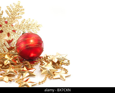 Christmas background with decorations in gold and red - Stock Image