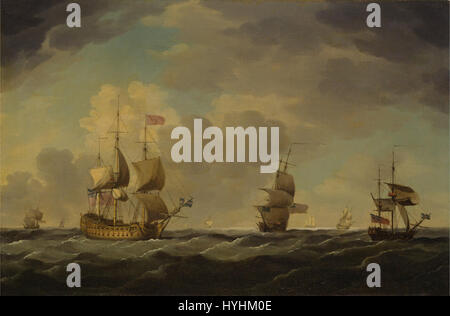Charles Brooking   An English Flagship Under Easy Sail in a Moderate Breeze   Google Art Project - Stock Image