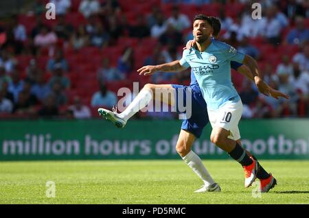 Sergio Aguero of Mancheseter City during the FA Community Shield match between Chelsea and Manchester City at Wembley Stadium in London. 05 Aug 2018 - Stock Image