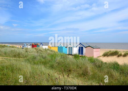 Beach huts on the seafront at Southwold seaside resort in Suffolk, UK - Stock Image