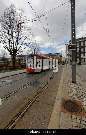 Bybanen Bergen Light Rail on its way from the city center, bound south in Bergen, Norway. - Stock Image