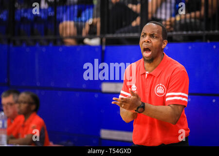 London, UK, 20th April 2019. LCR coach Junior 'Jay' Williams on the sideline. Tensions run high in the London City Royals v Glasgow Rocks BBL Championship game at Crystal Palace Sports Centre. Home team LCR win the tight game 78-70. Credit: Imageplotter/Alamy Live News - Stock Image