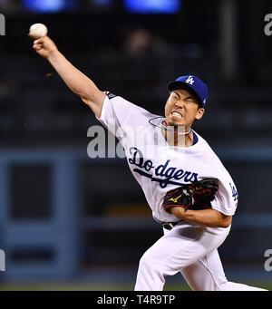 Kenta Maeda of the Los Angeles Dodgers pitches against the Cincinnati Reds during the Major League Baseball game at Dodger Stadium in Los Angeles, United States, April 16, 2019. Credit: AFLO/Alamy Live News - Stock Image