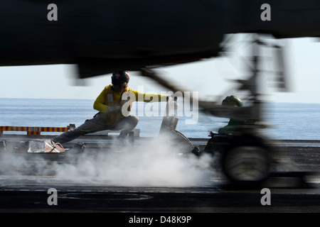 USS John C. Stennis conducts flight operations. - Stock Image
