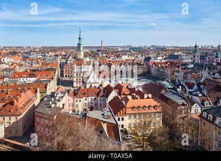 Aerial view of Poznan Old Town on a sunny day, Poland. - Stock Image