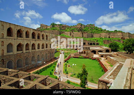Golkonda fort,Hyderabad,andhra, telangana state joint capital,india - Stock Image