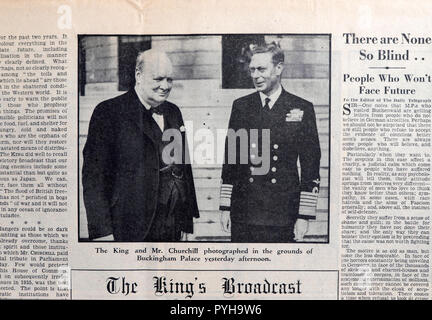 The Daily Telegraph newspaper King George VI & Winston Churchill appear together the day after 8 May VE Day on 9 May 1945 in London England UK - Stock Image