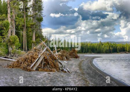 Yellowstone Lake, Wyoming, USA - Stock Image