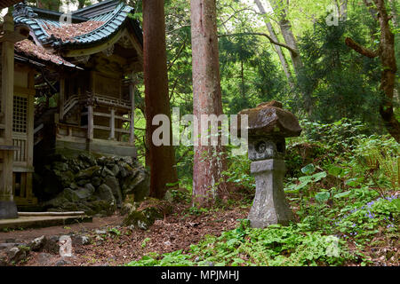 Low angle shot of Japanese stone lantern outside Massha Kumano Shinto shrine in the background. Aomori prefecture, North Honshu, Japan. - Stock Image
