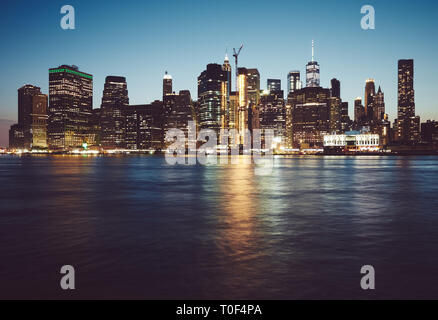 Manhattan at blue hour, color toned picture, New York City, USA. - Stock Image