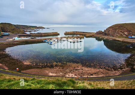 old fishing harbor at Portknockie, north of Scotland, UK - Stock Image