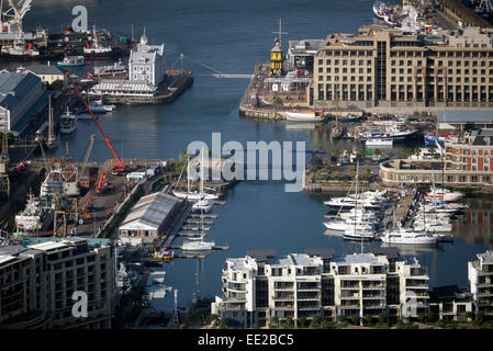 The V&A waterfront seen from Signal Hill, Cape Town, South Africa. - Stock Image