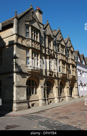 Oxford University Buildings, Merton Street, Oxford, Oxfordshire, UK. View from the South Side at the Junction with - Stock Image
