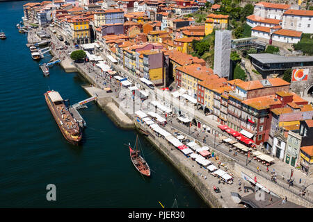 The Ribiera, from the Luis 1 bridge, Porto, Portugal. - Stock Image