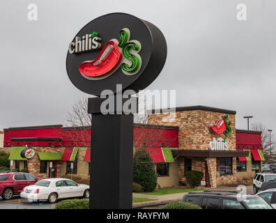 HICKORY, NC, USA-1/3/19:  Chili's restaurant in a southwest-style family restaurant. - Stock Image
