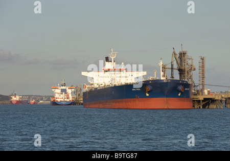 Oil tankers unloading at Milford Haven terminal in Pembrokeshire Wales August 2008 - Stock Image