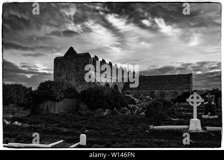 Ardfert Cathedral lies on the site of a monastery founded by St.Brendan in th 6th century.The site features 3 medieval churches. - Stock Image