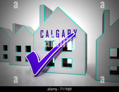 Calgary Real Estate Symbol Shows Property For Sale Or Rent In Alberta. Investment Agents Or Brokers Symbol 3d Illustration - Stock Image