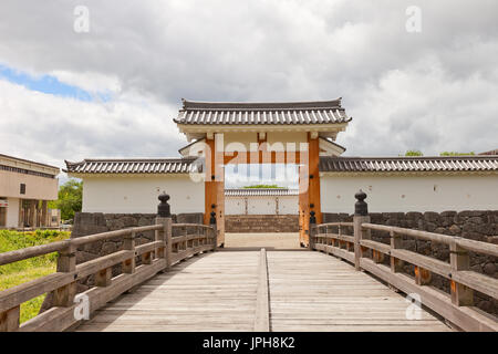 Reconstructed Otebashi Bridge (2005) and Ichimonji Gate (2014) of Main Bailey of Yamagata Castle (founded in 1356). National historical site of Japan - Stock Image