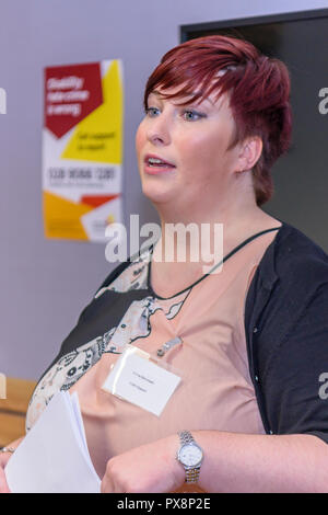 Belfast, Northern Ireland. 16/10/2016 - Emma Barronwell, Victim Support Northern Ireland, gives a presentation on Disability Hate Crime awareness. - Stock Image