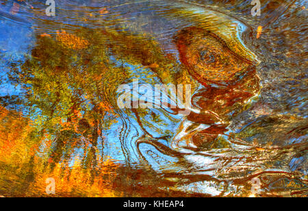 High dynamic range (HDR) image abstract of autumn leaves and vibrant colors reflected in swirling water. - Stock Image