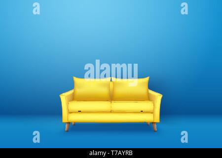 Sample interior scene with Modern yellow sofa on blue wall. Furniture or interior items for living room or office. Minimalism style. Vector Illustrati - Stock Image