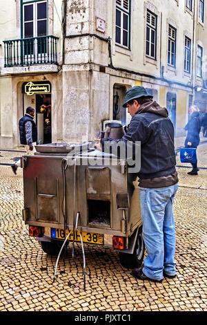 Chestnut Seller Lisbon Portugal - Stock Image