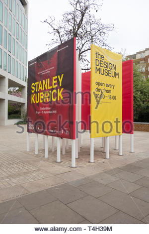 Poster advertising the Stanley Kubrick exhibition at the Design Museum, Kensington High Street, London, UK - Stock Image