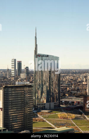 Italy, Lombardy, Milan, cityscape with Unicredit Tower from the Belvedere Enzo Jannacci in the Pirelli skyscraper - Stock Image