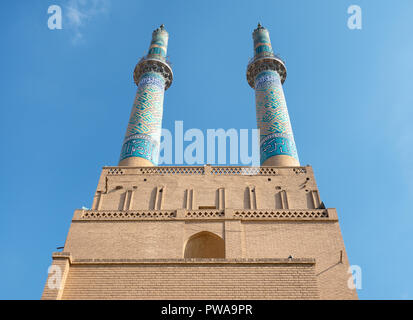 Yazd Jameh Mosque minarets, the tallest in Iran - Stock Image