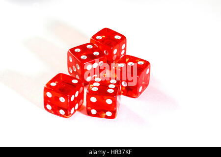 Transparent Casino dice used for Farkle and or Zilch a dice game played with 5 or 6 die - Stock Image