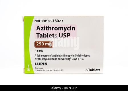 A package of Azithromycin tablets, an antibiotic therapy medicine for treating infections. - Stock Image