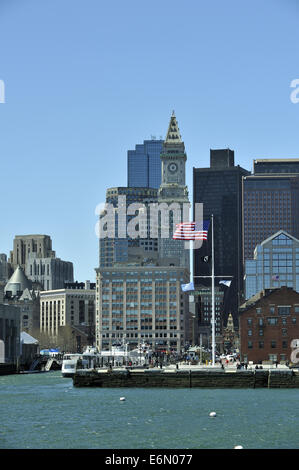 Long Wharf, Custom House Block, and Boston skyline, viewed from on Boston Harbor (Harbour). Massachusetts, USA - Stock Image
