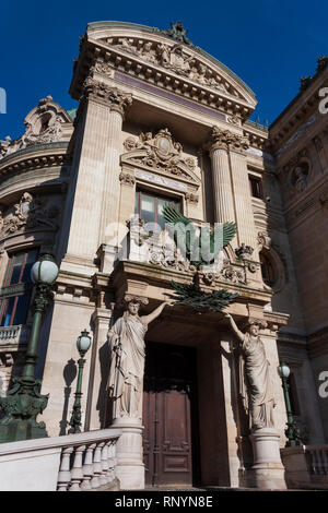 Emperor's Pavilion of the Palais Garnier with a bronze sculpture of a French Napoleonic imperial eagle above the door, Paris, France - Stock Image