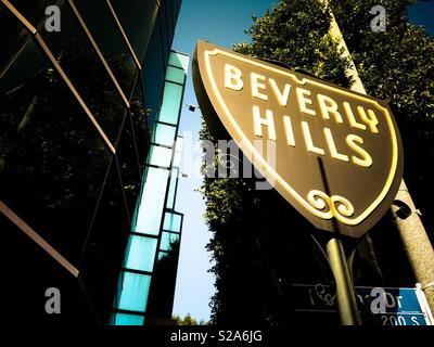 Beverly Hills city limits sign. Los Angeles, California, USA - Stock Image