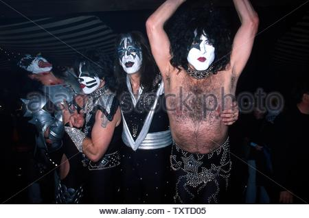 2/5/2002. Kiss At 'The Big Kiss' Fashion Event - Lane Bryant's 2002 Lingerie Fashion Show With Special Musical Performance By Kiss At The Roseland Ballroom, NY Credit: 1309452Globe Photos/MediaPunch - Stock Image