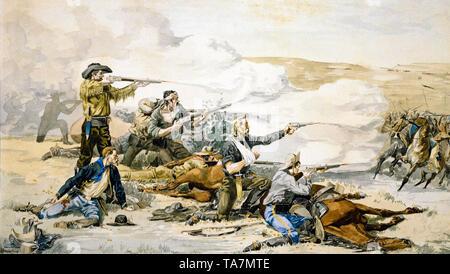 Frederic Remington, Battle of Beecher Island, 1868, painting, circa 1871 - Stock Image
