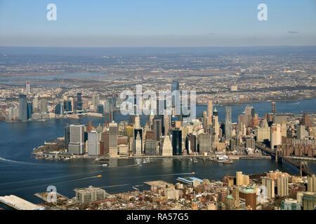 Manhattan, New York City skyline seen from airplane - Stock Image