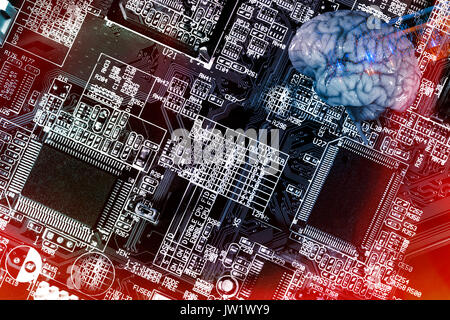human brain and communication, microchips and electrodes, artificial-intelligence - Stock Image