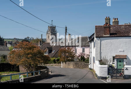 View looking through the village to the church of St Andrew, Colyton, Devon. UK - Stock Image