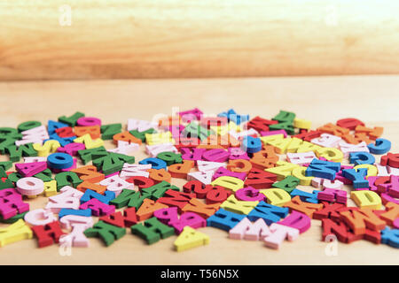 English colorful abc alphabet block wooden letters. Education concept. Space for your text - Stock Image