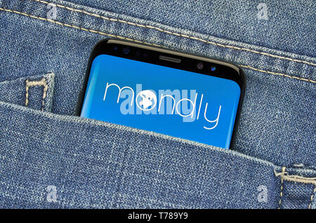 MONTREAL, CANADA - December 23, 2018: Mondly android app on Samsung s8 screen. Mondly is a Tech company that develops a freemium language learning pla - Stock Image