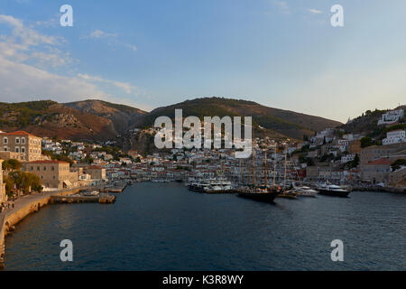 Panoramic view of Hydra town - Stock Image