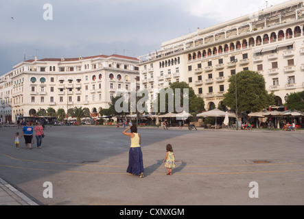 Aristotelous square, one of the main squares of Thessaloniki, Greece - Stock Image