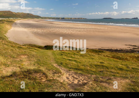 Rhossili Bay, 3 miles of sandy beach on the Gower peninsula of Wales. - Stock Image