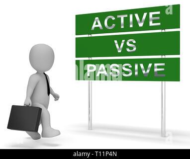 Active Vs Passive Sign Shows Positive Energy Attitude Or Negative Laziness 3d Illustration - Stock Image