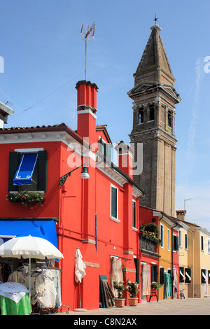 Red houses at Burano island, Venice, Italy - Stock Image